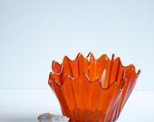 Ruffled  Edge Retro Orange Vase or Bowl, Candy or Floral Dish. Bar Ware.
