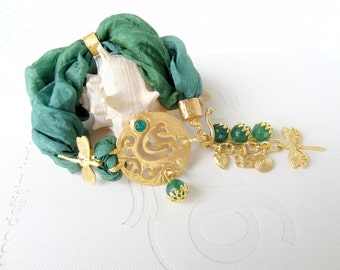 GOD Post Bracelet, Bracelet, Arabian Style Bracelet, Green Jade Bracelet, Bohemian Green Silk Bracelet, Mother Day Gifts