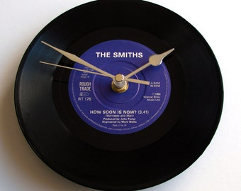 "The Smiths Record Clock. ""How Soon is Now"" from an original Rough Trade 7inch vinyl record. Unique gift for Morrissey fan perhaps...."