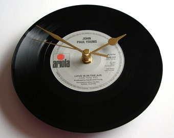 """Romantic """"Love Is In The Air"""" Record Clock made from a recycled 7"""" vinyl single by John Paul Young Wedding anniversary or engagement gift"""