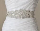 Bridal crystal belt, rhinestone sash, bridal sash, bridal belt, vintage bridal sash