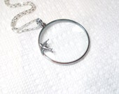"""Magnifying glass necklace - Owl Necklace- Magnifier -1.5""""-with  Bird, key , elephant"""