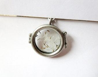 SALE today Dandelion  necklace - Glass  Bottle necklace -  Make A Wish Glass necklace- Dandelion Seed Transparent real  Flower