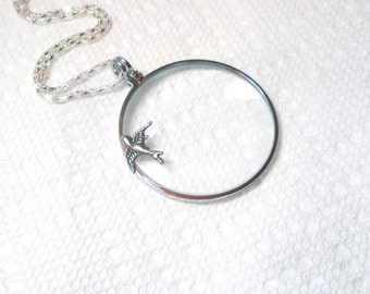 "Magnifying glass necklace - Owl Necklace- Magnifier -1.5""-with  Bird, key , elephant"