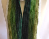 CROCHET PATTERN  Green Stripe Scarf Ideal for Beginners Varied Shade Unisex Accessory One Piece Wearable Multi-Ways