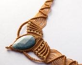 Macrame Jewelry Aquamarine Pocahontas Necklace natural macrame necklace, Camel necklace wax threads Aquamarine and goldfield beads