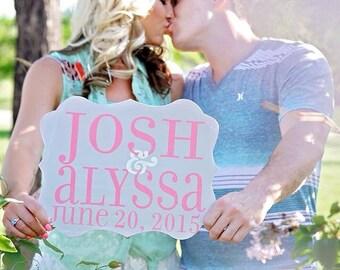 Wedding Names & Date Sign - Wedding Sign - Wedding Date Sign - Wedding Photo Prop - Save the Date Photo Prop