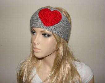 Red Heart Gray Knit Headband Ohio State Buckeyes , Grey Knitted headband with flower Ear Warmer, Head wrap, head scarf Teen Young Adult Girl