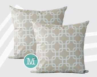 Powder Blue & Taupe Lattice Gotcha Pillow Covers Shams - 20 x 20 and More Sizes - Zipper Closure
