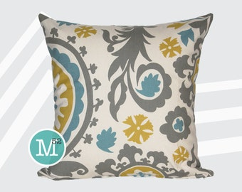 Summerland Yellow, Blue, Grey Suzani Pillow Cover - 20 x 20 and More Sizes - Zipper Closure