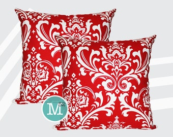 Red Damask Pillow Covers - 20 x 20 and More Sizes - Zipper Closure