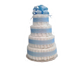 4 Layer Blue - Classic Pastel Baby Shower Diaper Cake
