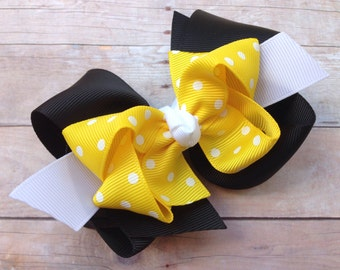 4 inch double boutique black & yellow hair bow - yellow polka dot bow, boutique bow, 4 inch bows, girls hair bows, toddler bows, girls bows