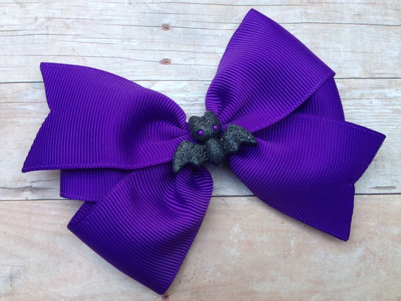 Purple bat hair bow - Halloween bow, purple bow