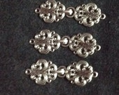 Set of 5 silver metal button clasps for sewing and  knitting supplies reclaimed by upcycledtotebags  on etsy knitting supply