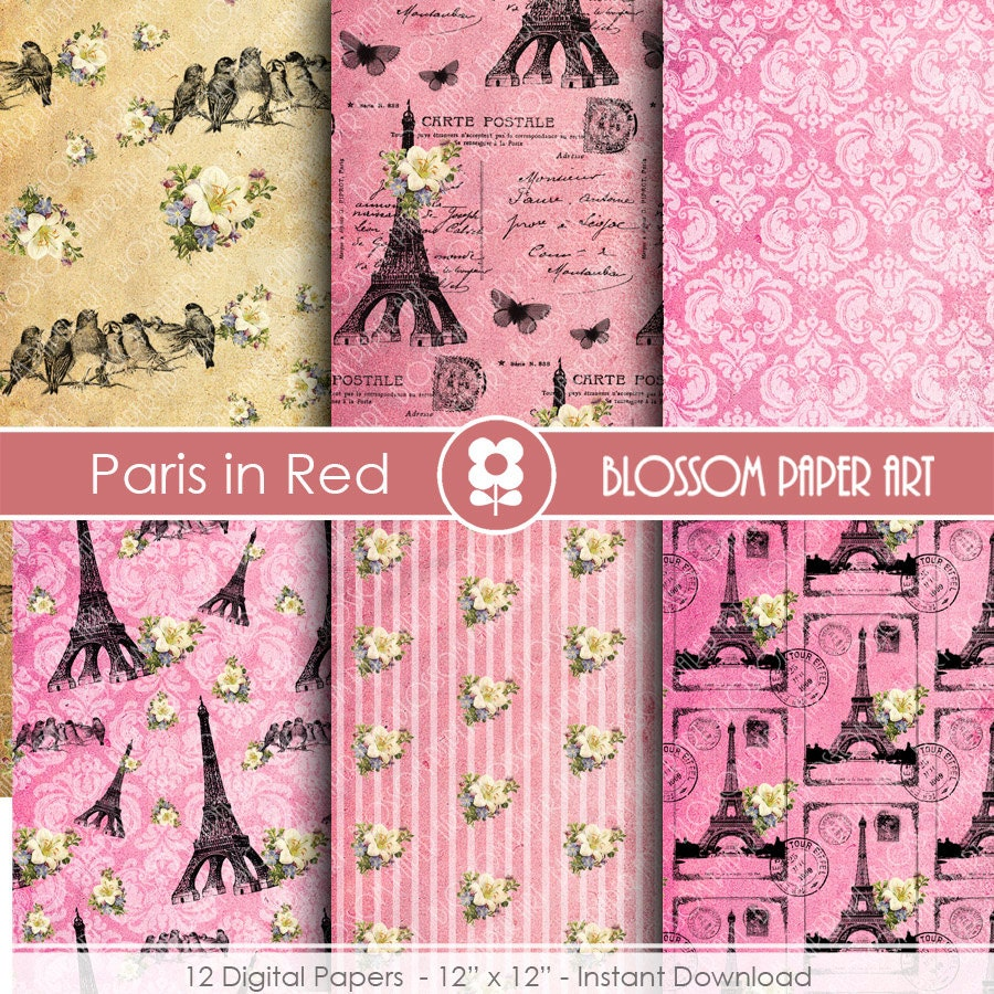 Scrapbook paper eiffel tower - This Is A Digital File