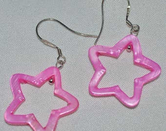 Pink Star Mother of Pearl Earring