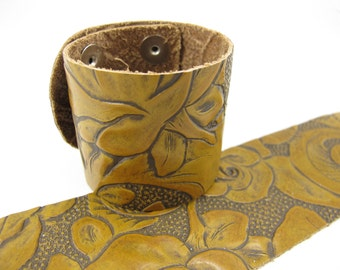 "Havana Floral Leather Cuff Bracelet 2"" Wide, #57-85231611"