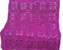 Crochet afghan crochet blanket Victorian wedding romantic victorian crochet granny square, purple grape orchid, READY TO SHIP