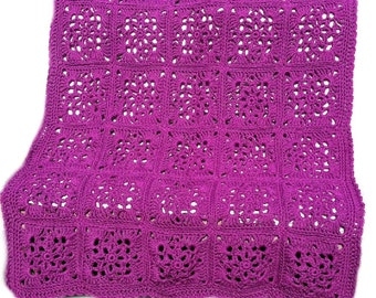 Crochet afghan crochet blanket Victorian wedding romantic victorian crochet granny square, purple grape orchid, READY TO SHIP