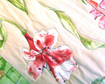 Quilt, Child or Baby Blanket - Watercolor Lilies