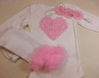 VALENTINES DAY OUTFIT Pink Chiffon Heart Onsie with Matchin  Leg Warmers, and Matching Headband Sizes 0 to 24 month