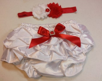 Baby VALENTINE DAY OUTFIT, Red and White Flower Headband, White Ruffle Bloomers, Girls Diaper Cover Set, Flower Girl Headband, Girls Clothes