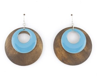 Simple Brown Wooden Double Hoop Blue Round Plate Earrings,C2
