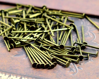 100pcs 20mm Antique Bronze T Pin/ Headpins Findings