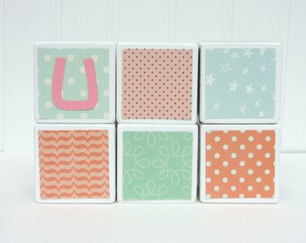 Baby Blocks Personalized - SET OF 6 - Girl - Coral Mint White