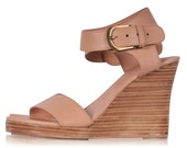 DREAMER. Nude leather wedges  / women shoes / high heels / leather shoes / wedding shoes. Sizes 35-43. Available in different leather colors