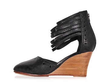 ANATOLIA. Black leather wedges / women shoes / high heels / leather shoes / women wedges. Sizes 35-43. Available in different leather colors