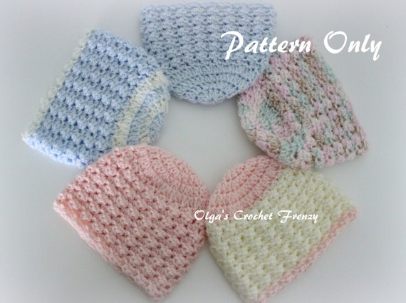 Crochet Hat Pattern For Premature Baby : Preemie Baby Beanie Hat Crochet Pattern Size Preemie For