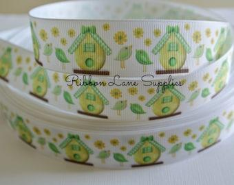 "1"" Ribbon by the Yard-Love Birds-daisies Green yellow white grosgrain Hair bows WHolesale by Ribbon Lane Supplies"