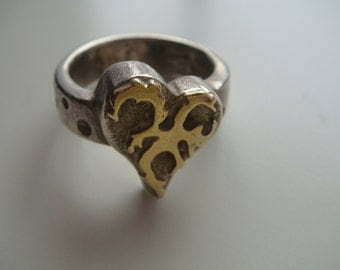 Vintage Silver and Gold Heart Ring