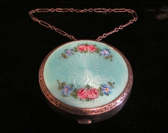Vintage 1920s Dance Compact Guilloche Compact Powder Rouge and Mirror Compact Art Deco Nickel Silver and Silver Plate Excellent Condition