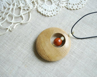 circle, ash juniper wooden pendant, amulet, for him, for her, mothers day, gift idea under 10, eco friendly, beige brown, birthday gift