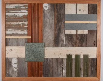 """ECHO,  Reclaimed wood and tile assemblage, 32"""" x 26""""."""