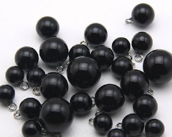 6 pcs 0.39~0.71 inch Black Bright Pearl Resin Shank Buttons for Cardigans Sweaters