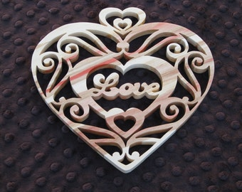 Scroll Saw Love Heart Plaque Made From Red Flame Box Elder