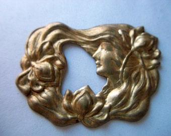Vintage Brass Art Nouveau Garden Nymph Stamping/ Finding x 2  # A 5
