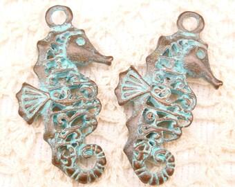 Rustic, Patina Filigree Seahorse Charm Pendant, Mykonos Casting Beads (1) - M13 - X5162