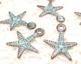 Starfish, Life-Like, Rustic, Patina Charm, Mykonos Casting Beads (4) - M19 - X1759