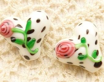 Pink Rose Flower Heart  Lampwork Glass Beads (2)