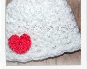 Kayla baby hat pattern - chunky baby hat pattern - Valentine's Day baby hat - 3 sizes - PDF62 instant download