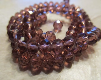 """Reddish Purple Faceted Rondelle Crystals, Beads, 6x4mm, 8"""" Strand"""