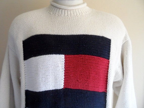 Vintage 90 S Tommy Hilfiger Cream Ivory White Big Flag