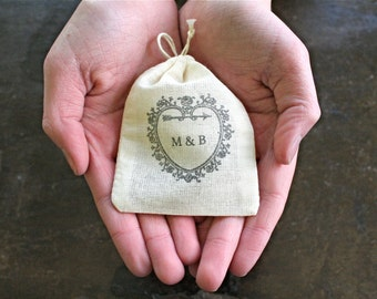 Personalized wedding ring bag.  Ring pillow alternative, ring bearer accessory, ring warming ceremony.  Vintage heart with initials.