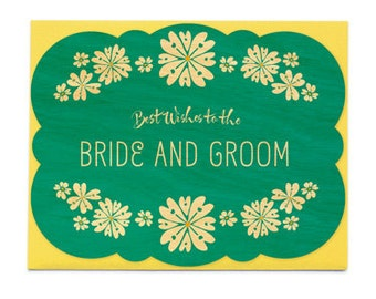 Wedding Flowers Wood Wedding Congratulations Card • WC1360