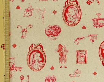 Emi Kondo Japanese Fabric / Classical Alice in Wonderland Fabric White  - 110cm x 50cm